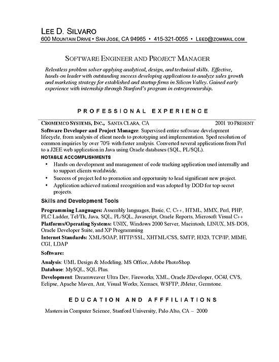 Software Manager Project Manager Resume Resume Software Resume Examples