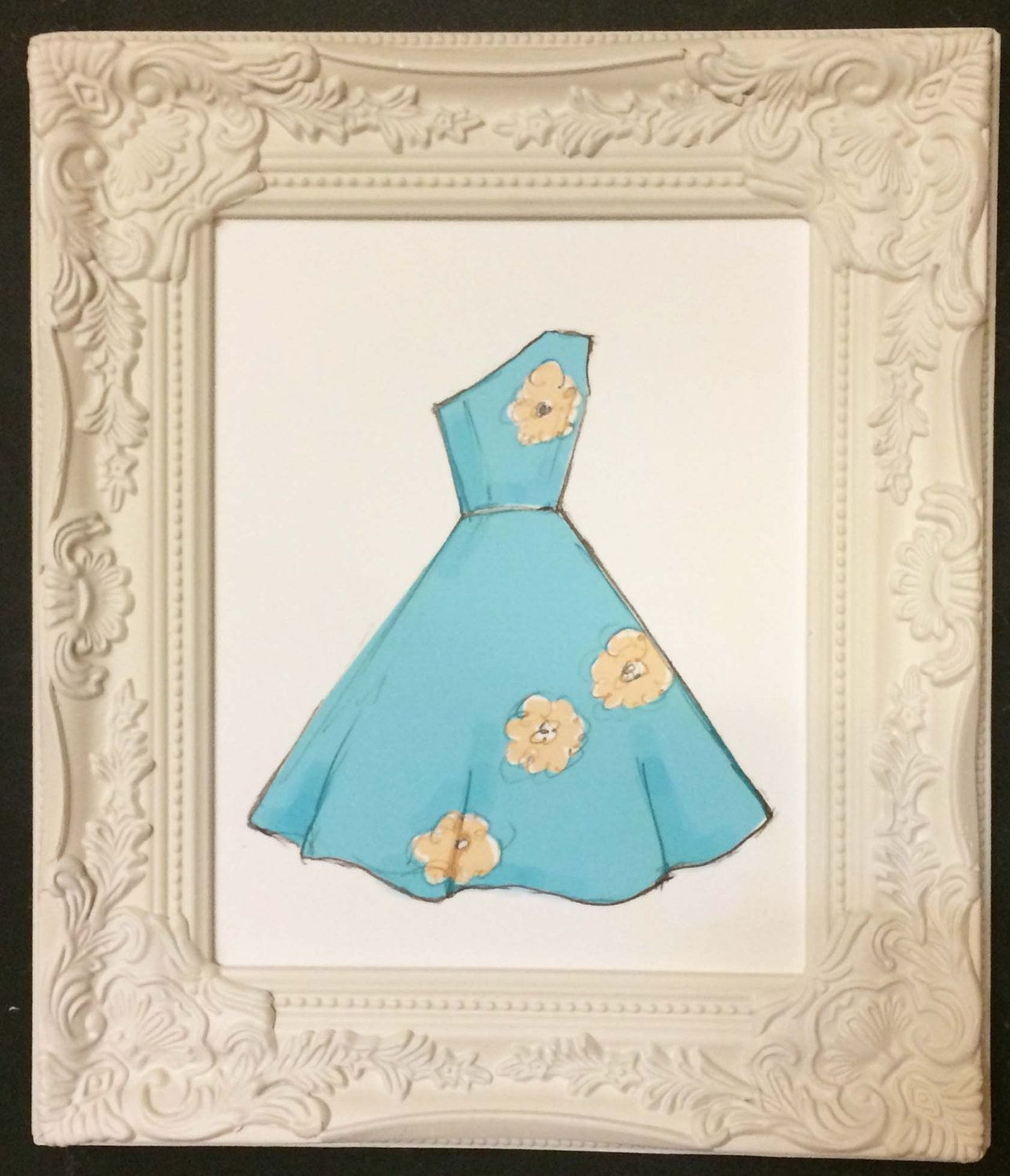 Fashion illustration of blue one shoulder dress with floral design 8x10 or 5x7 by mollymattin on Etsy