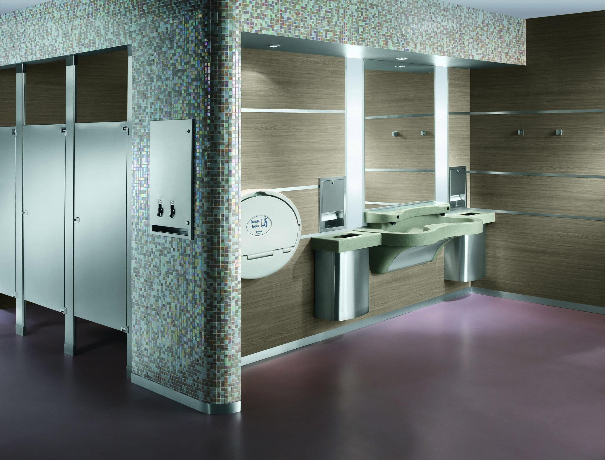 Retail Store Womens Restroom With Express Lavatory Systems - Express bathrooms