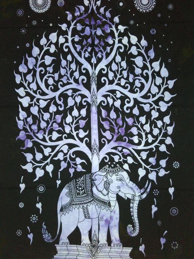 Elephant Mandala Cotton Handmade Wall Hanging Ethnic Indian Boho Poster Tapestry