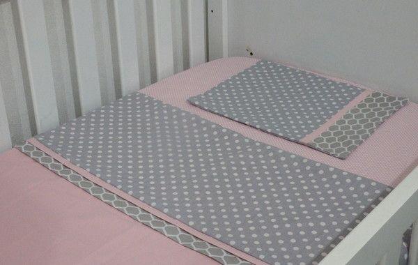 fdc122a311 Jogo lençol berço americano cinza rosa no Elo7