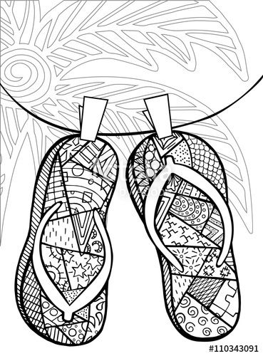 Zentangle Flip Flops At The Beach Coloring Page Beach Coloring