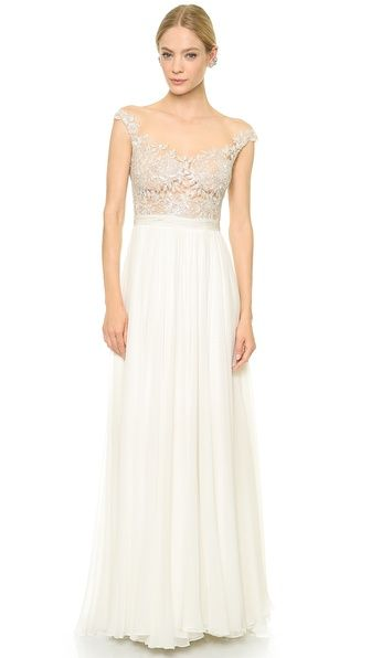 Reem Acra Juliet Embroidered Illusion Off Shoulder Gown. Sigh ...