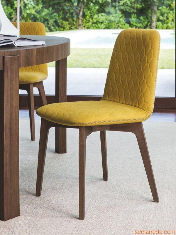 Italienische Möbel · CS1472 Sami   Moderner Stuhl, Beine Nussbaum,  Senffarbener Stoffbezug Oslo