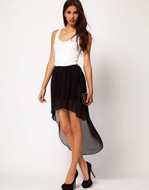 How to chiffon wear high low skirt