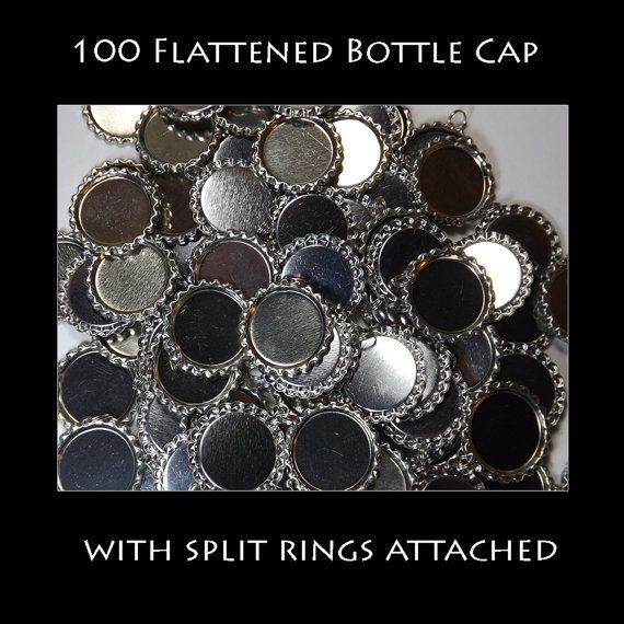 100 flattened Bottle caps with split rings by BottleCapsBeadsnMore, $16.99