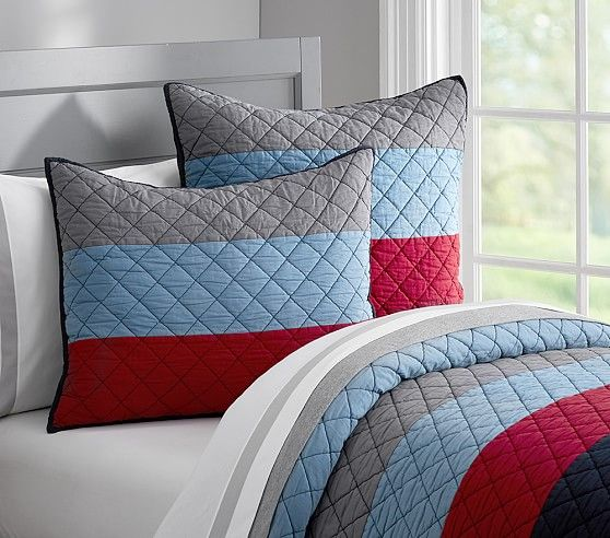 Blocked Stripe Quilted Bedding Pottery Barn Kids Big