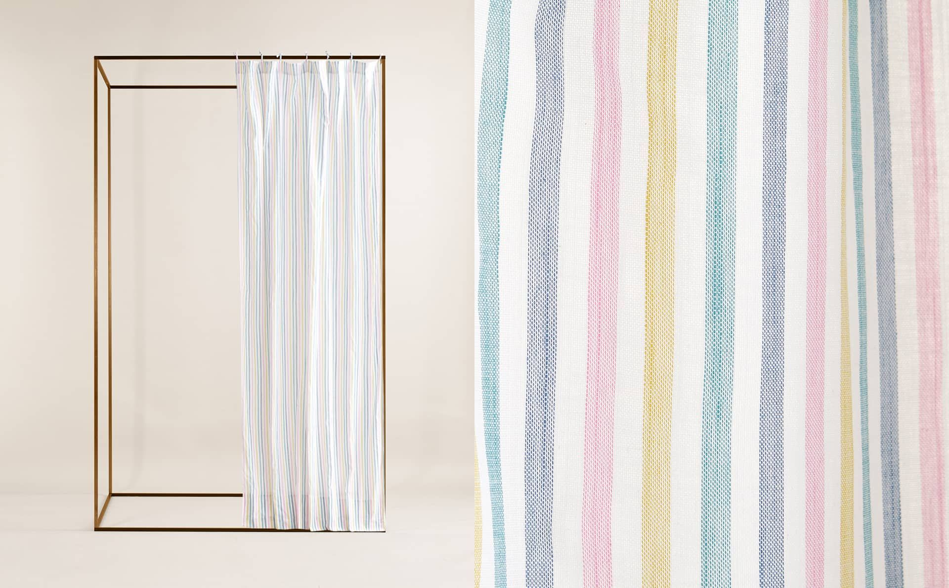 Image Of The Product Multicoloured Stripe Cotton Curtain