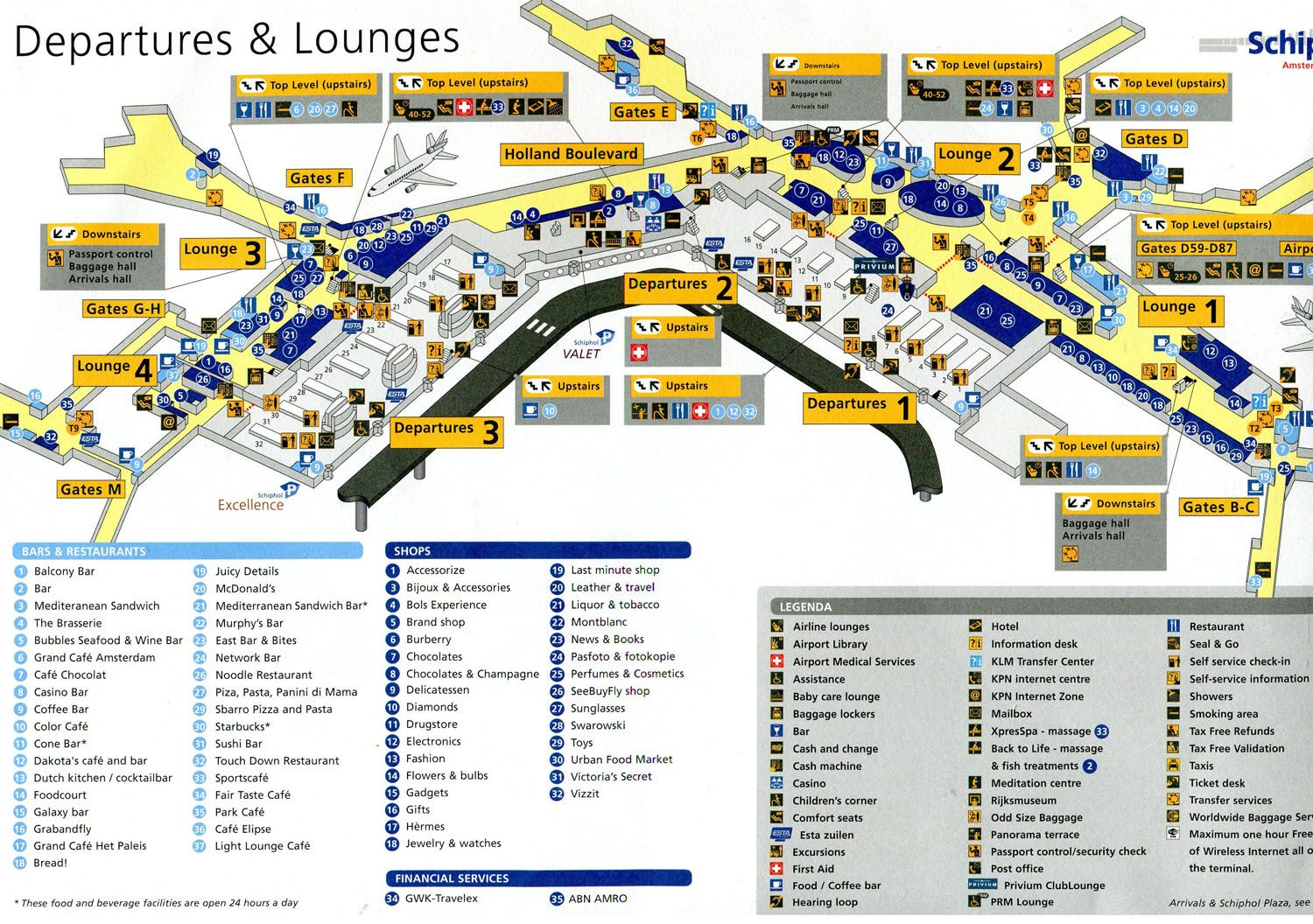 schiphol airport gate map Amsterdam Airport Map Airport Terminal Map Dining And Shopping schiphol airport gate map