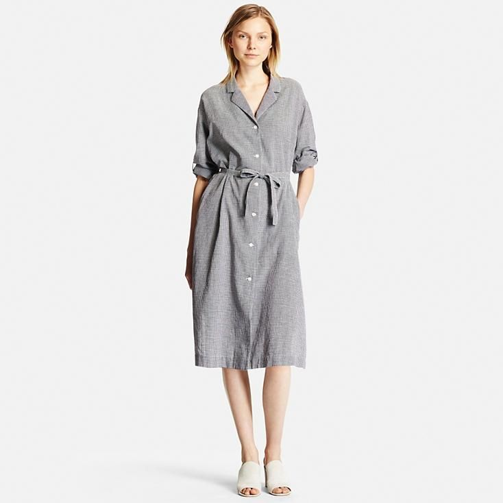 Women S Cotton Linen Long Sleeve Shirt Dress Uniqlo