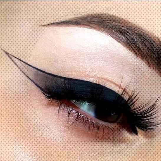 Heavy, partially shaded, black eyeliner