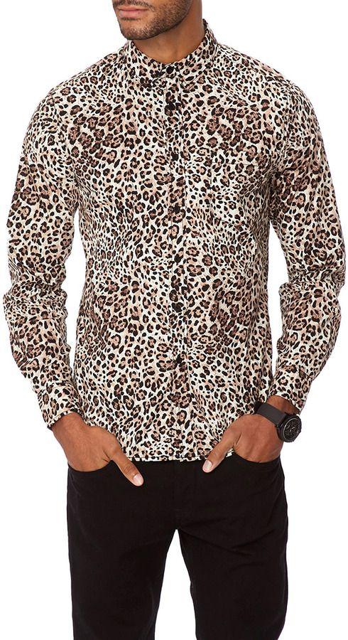 Forever 21 21 Men Slim Fit Leopard Print Shirt Definitely For A