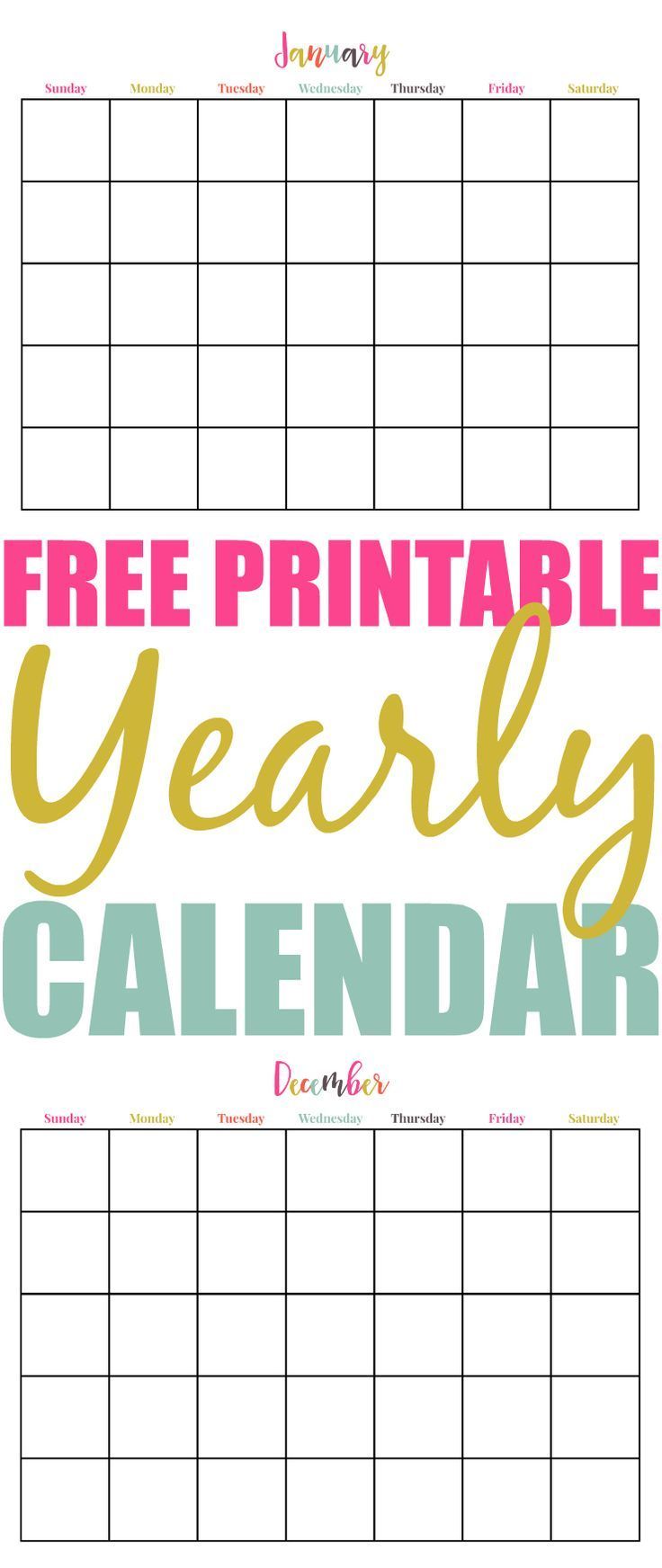 Free Printable Yearly Calendar  Printable Yearly Calendar Yearly