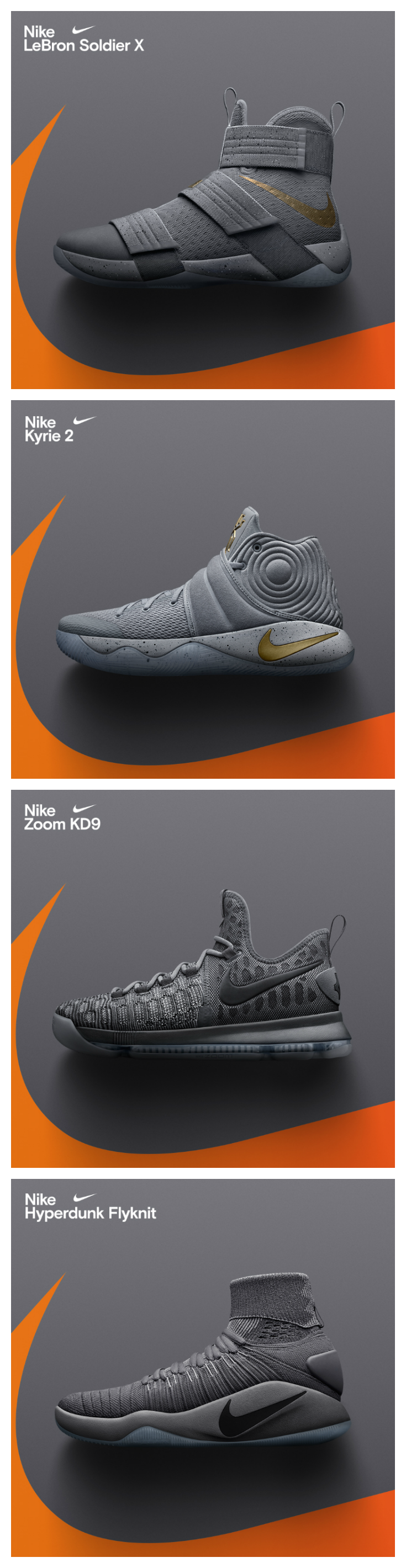 reputable site 9c485 7fa1a Nike just dropped grey-on-grey colorways of the KD 9, Kyrie 2, Soldier 10,  and Hyperdunk 2016. Available now.