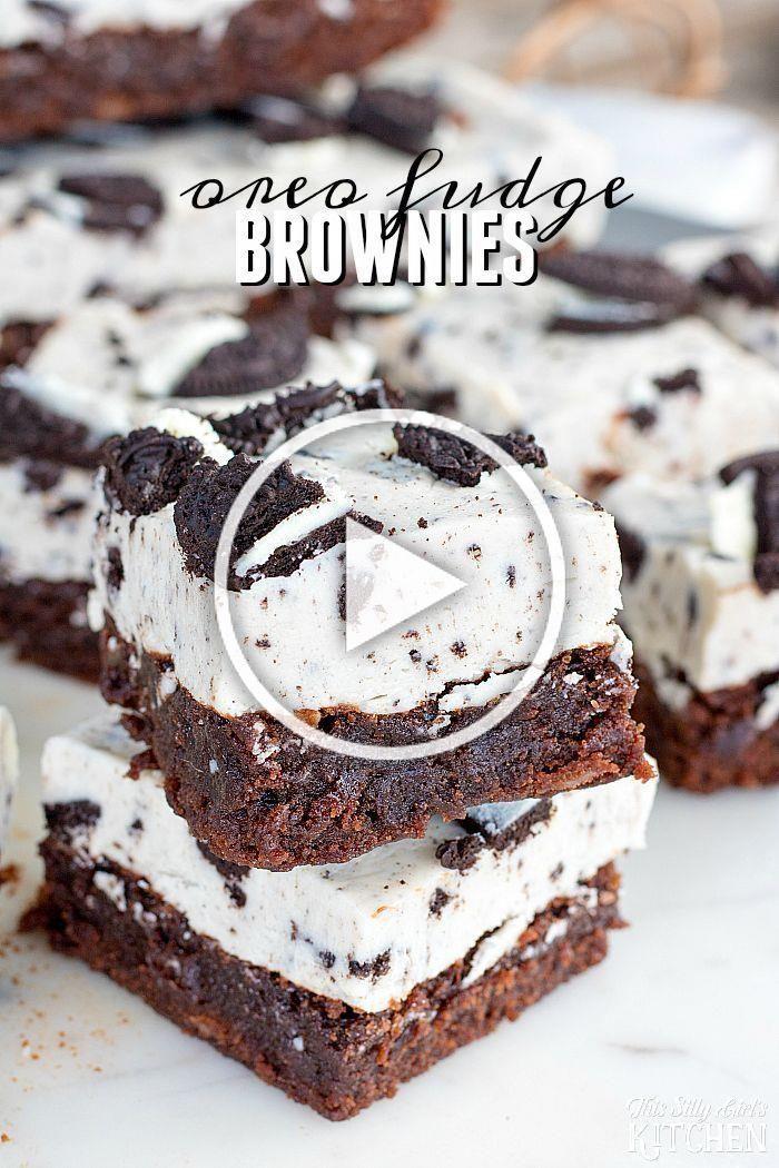 Oreo Fudge Brownies, no bake Oreo fudge topped brownies…. nuff said!