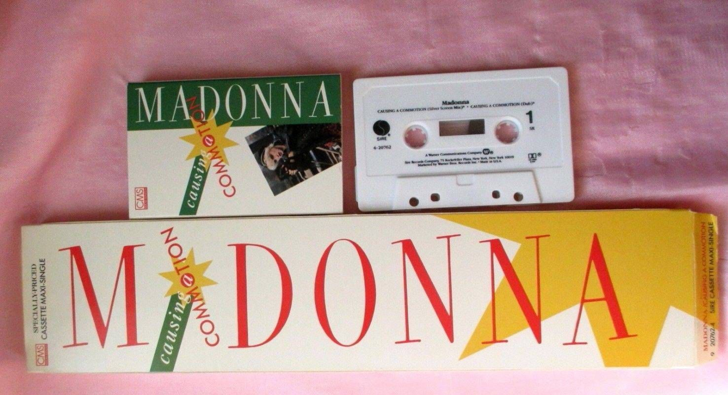 Madonna '87 Cassette tape Maxi-single Long box Picture coverCausing A Commotion Rare!