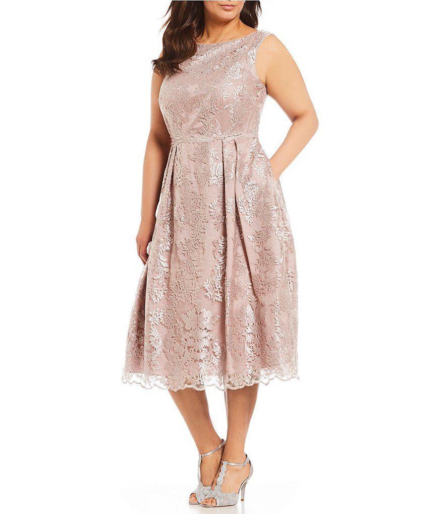 Adrianna papell plus size metallic embroidered dress adrianna