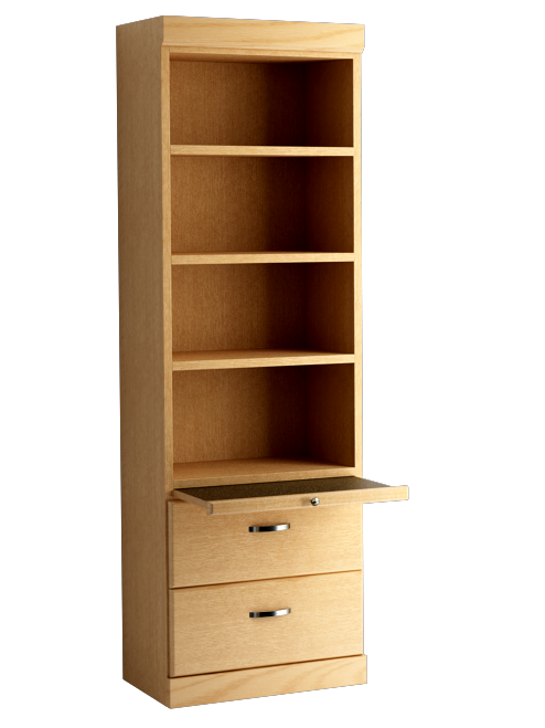 Shaker Style Bookcase with Bottom Drawers in Oak Honey