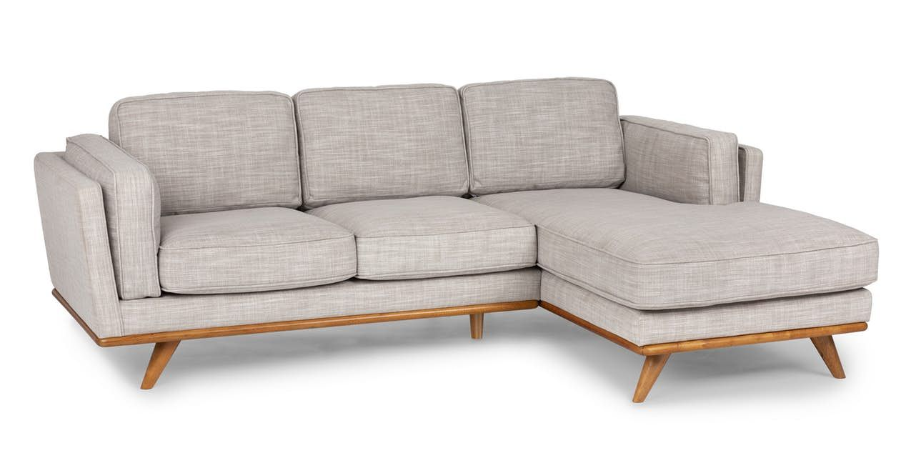 Timber Rain Cloud Gray Right Sectional In 2020 Small Sectional Sofa Mid Century Modern Sectional Sofa Sectional