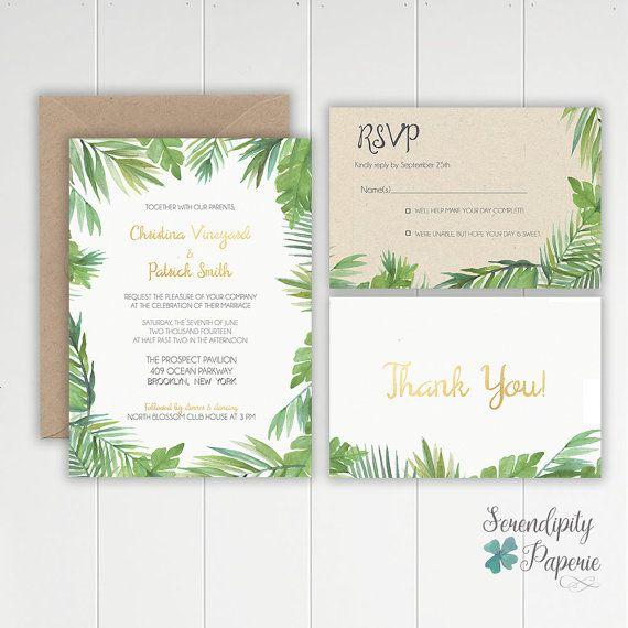 Tropical Watercolor Palm Leaf Wedding Invitation Stationery Set - printable loose leaf paper