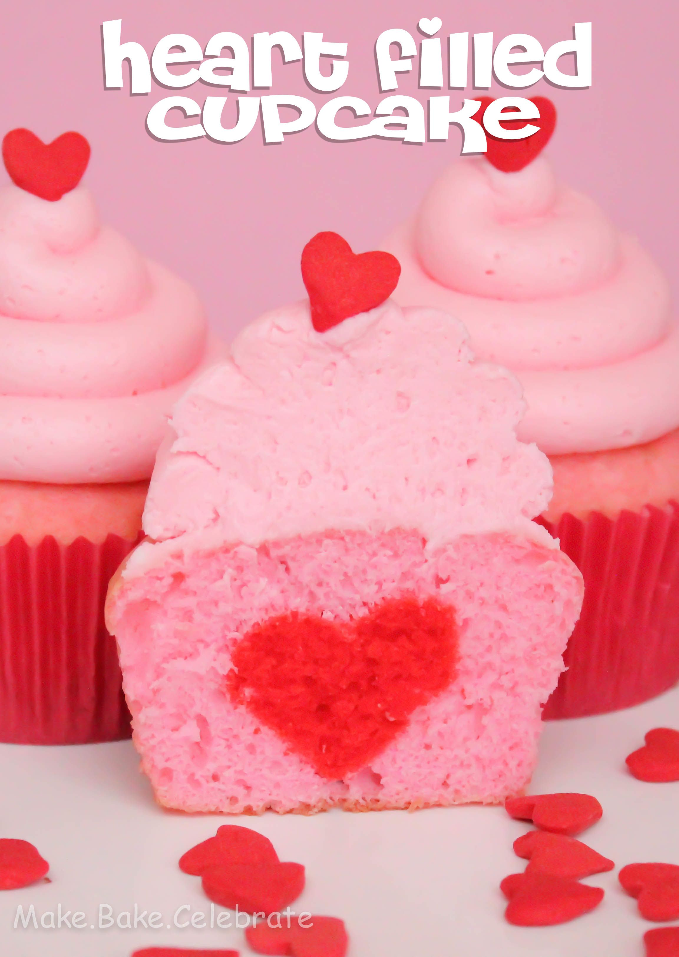 Heart filled cupcake for two how to bake a heart inside a
