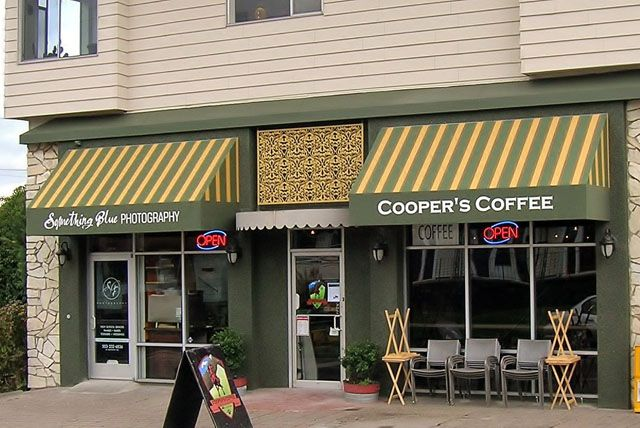Striped Awnings With Graphics Cooper S Coffee Store Front Ideas Store Fronts Business Signs Beer Garden
