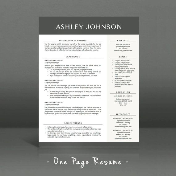 Modern Resume Template for Word and Pages, 1 - 3 Pages + Cover - resume 1 or 2 pages