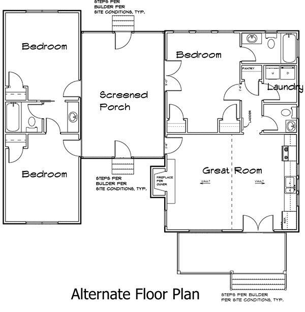 3 Bedroom Dog Trot House Plan   92318MX   1st Floor Master Suite  CAD  Available. Plan 92318MX  3 Bedroom Dog Trot House Plan   House plans