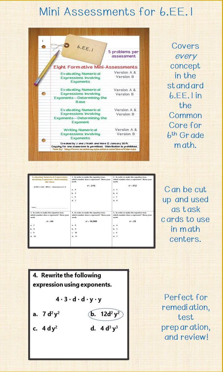 6th Grade Math 6 Ee 1 Mini Assessments Math Addition Worksheets Math Fact Worksheets Math Assessment