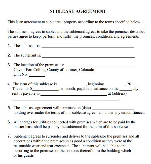 Printable Sample Sublease Agreement Form Form Real Estate Forms - rental agreement forms