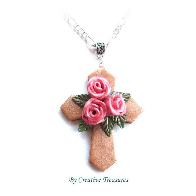 Polymer Clay Cross with Pink Rosebuds. £5.50