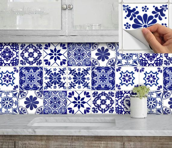 Tile Stickers for Kitchen Bath or Floor Waterproof Tr007 ChinaBlue ...