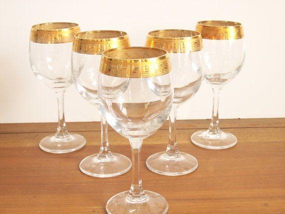 6c872b8c3703 Gold Rimmed Wine Glasses - Greek Key