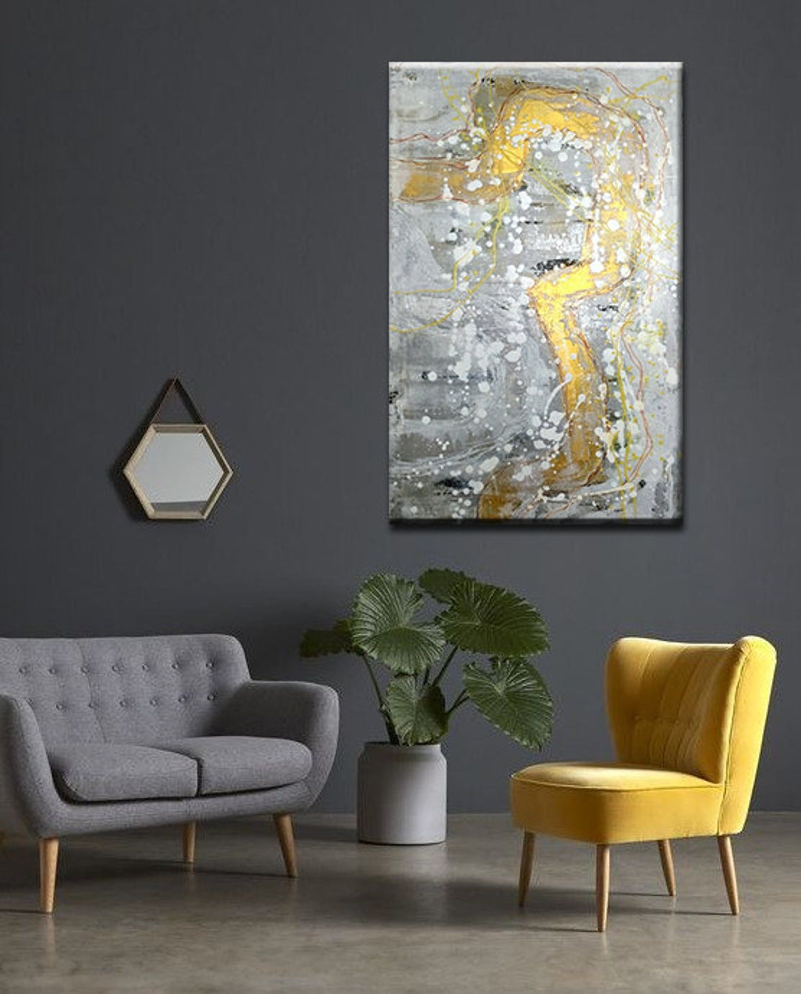 Modern Art On Canvas Original Painting Gray White Gold Silver Etsy In 2020 Apartment Living Room Design Modern Minimalist Living Room Minimalist Living Room #vertical #paintings #for #living #room