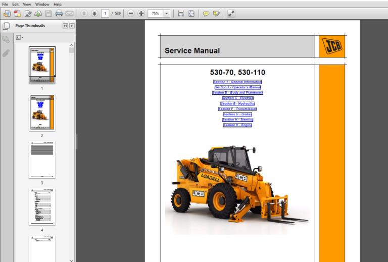 Jcb Liftall Loadall 530 70 530 110 Service Repair Manual Pdf Download Repair Manuals Repair Manual