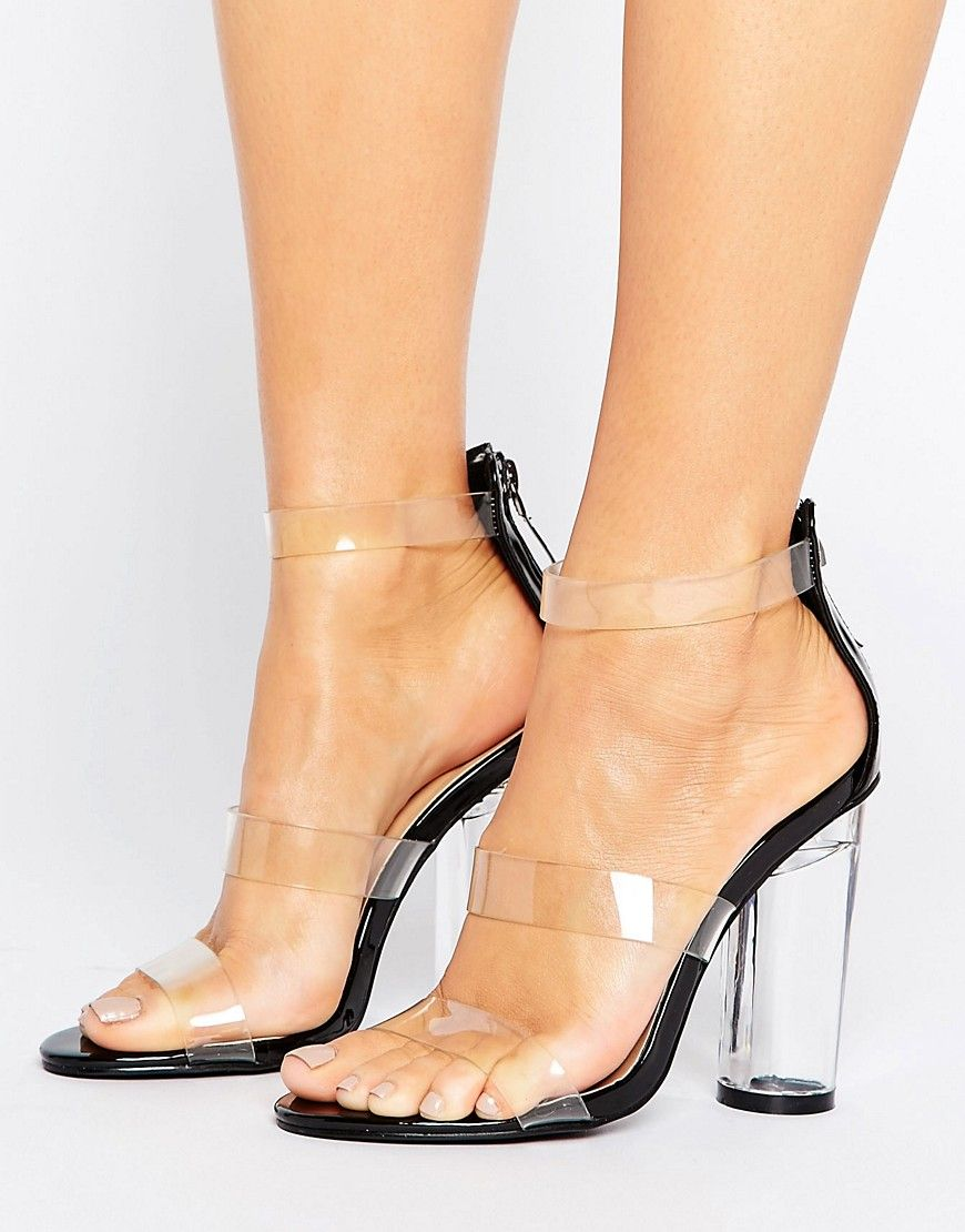 cfbdc89110 Truffle Collection See Through Perspex Heel Sandal - Black ...