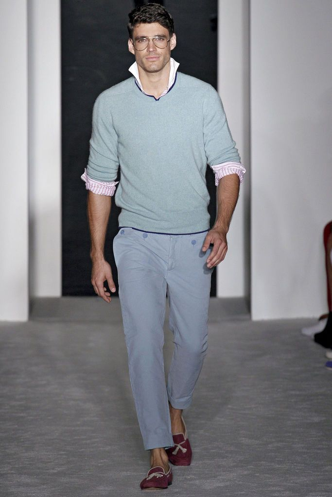 Michael Bastian Spring/Summer 2013 - Would my Man be wearing this? I'd like to think he would! o;P Haha! perhaps different colors. o;) Oh and the Model's HOT! o;P Haha! o;)
