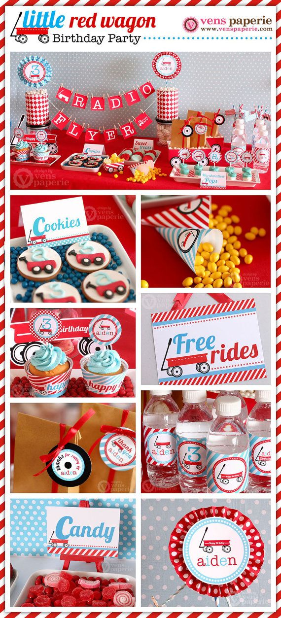 radio flyer red wagon party package personalized by venspaperie
