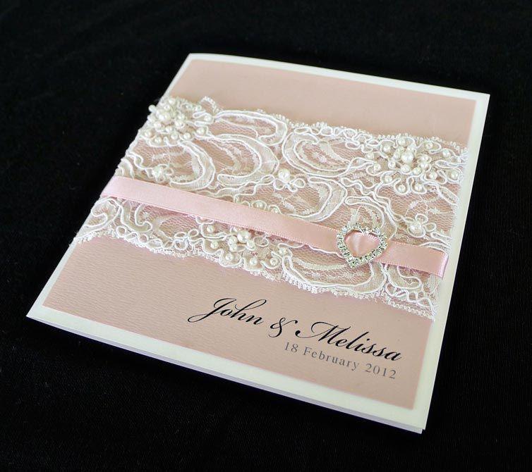 Custom | Wedding Invitations Lace Pearls Pink Romantic Invitation ...