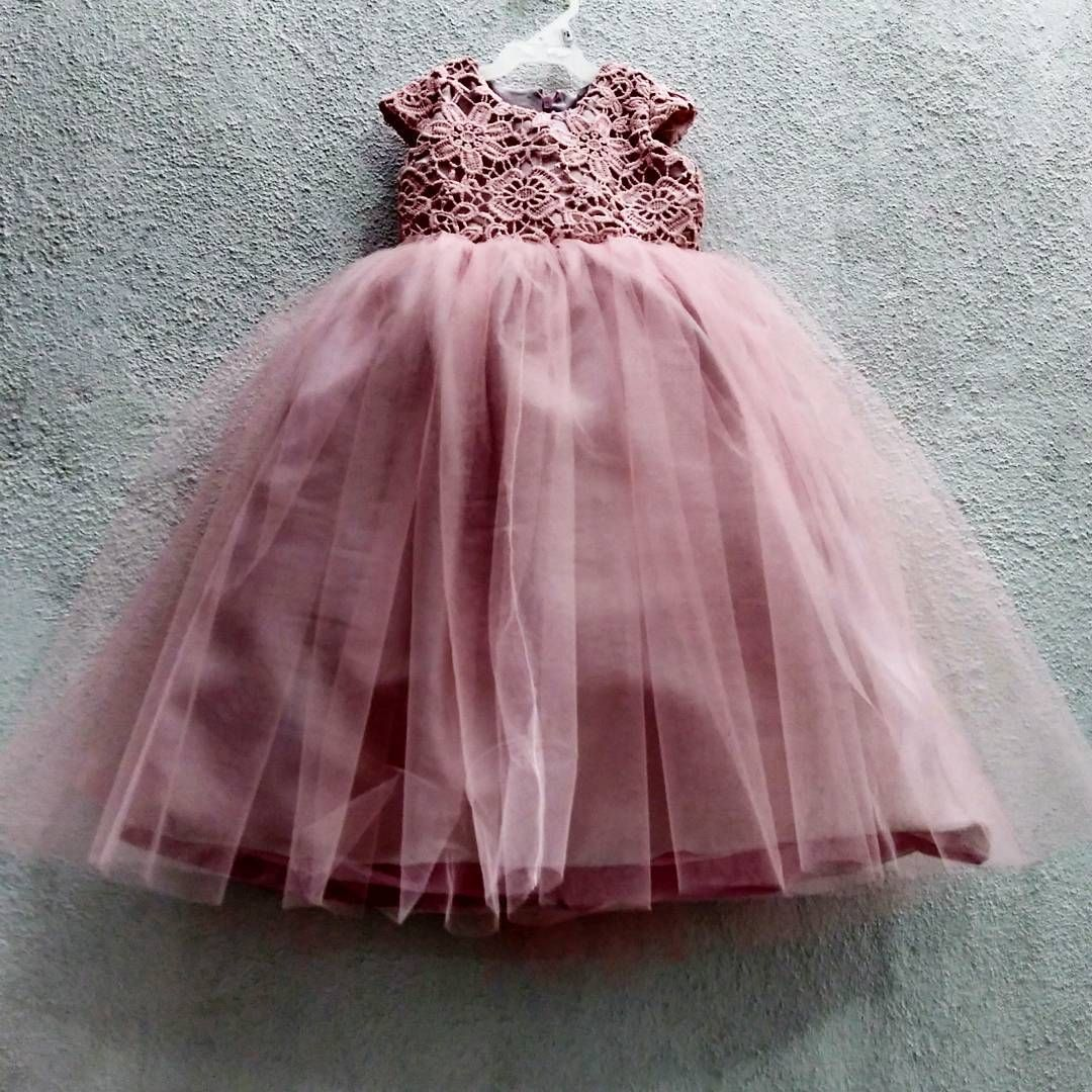 Dress Wedding Pink Tul Girl Baby Couture Handmade Flower