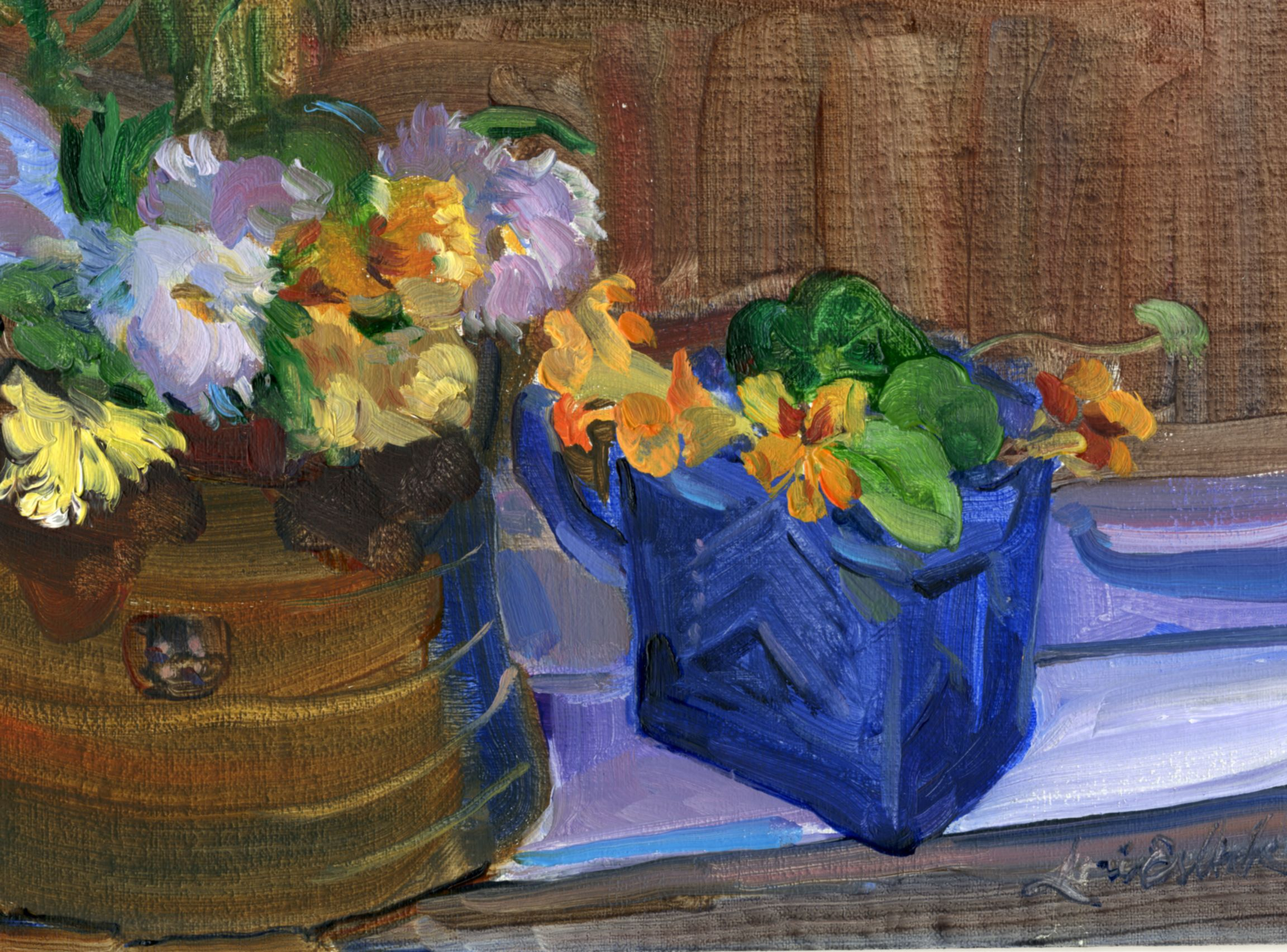 "The last flowers of 2015 from our garden. I picked them and brought them into the studio, sat the vases on my windowsill and painted them. 7"" x 5"" oil on panel. *for sale"