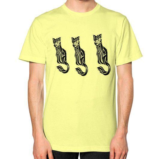 TRIPLE CAT TATTOO ON AMERICAN APPAREL Unisex T-Shirt (on man)