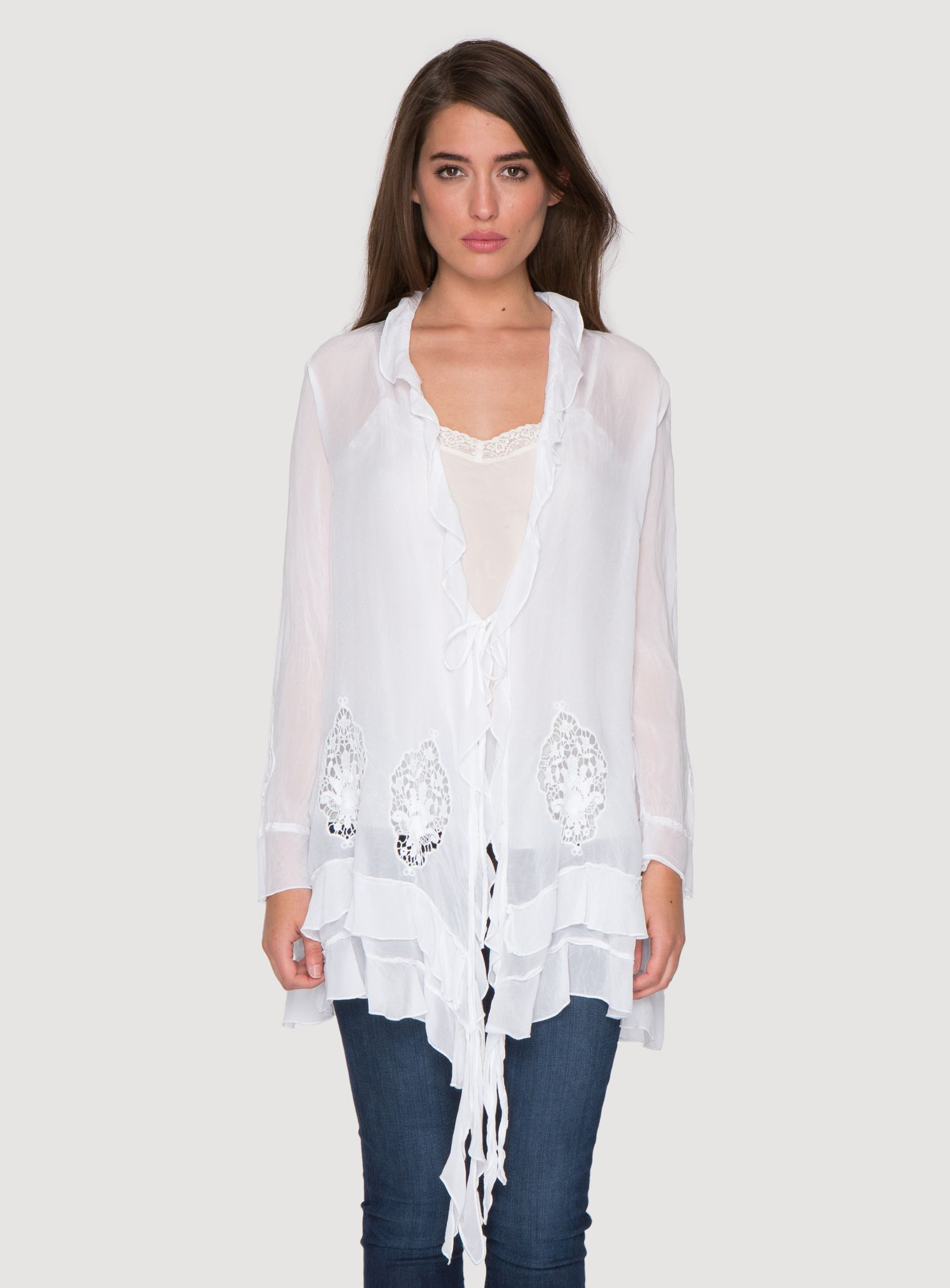 Johnny Was Collection Issy Ruffle Cover-Up Jacket in White