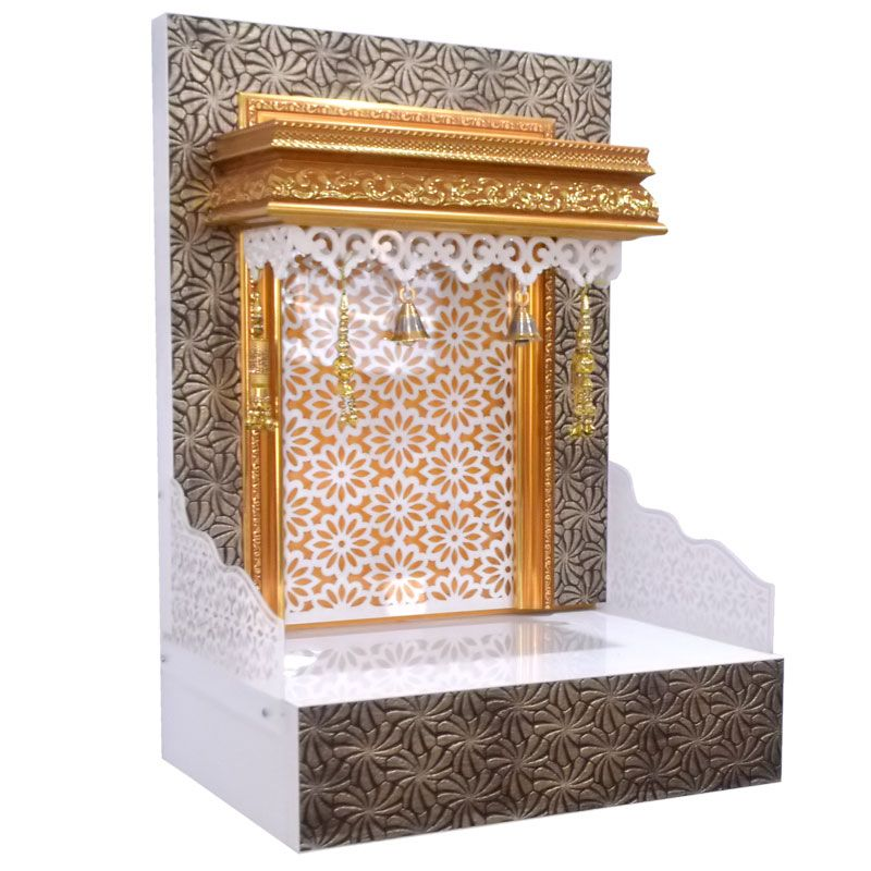 Decorative Wooden Mandir With Led Lights For Home And