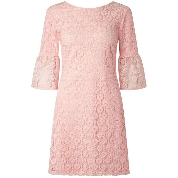 Miss Selfridge Pink Lace Flute Sleeve Dress ($68) ❤ liked on ...