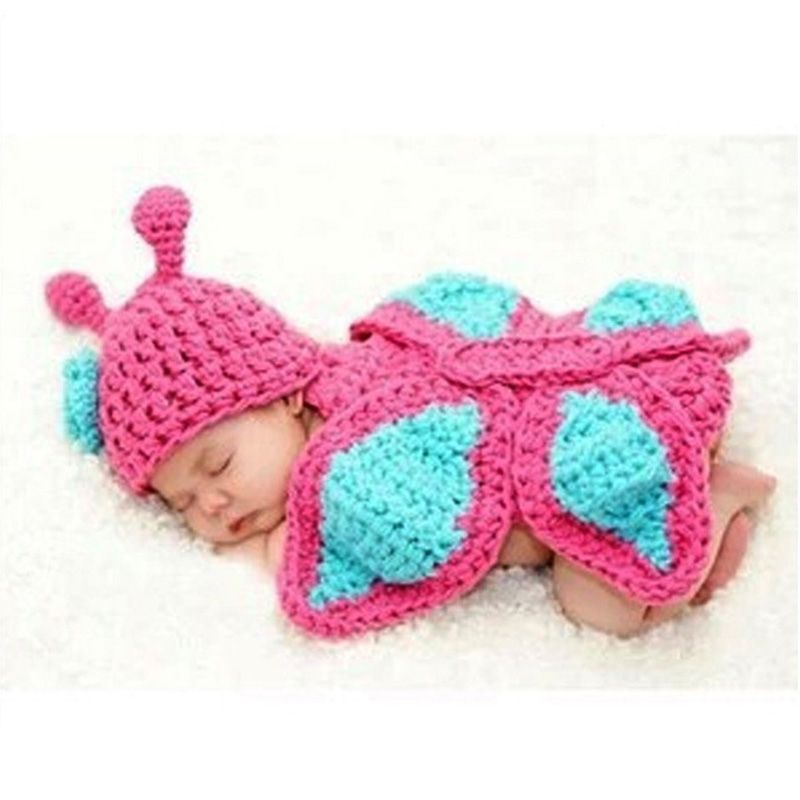 $7.90 (Buy here: http://appdeal.ru/5poq ) Born Baby Girl Clothes Romper Butterfly Design Knit Photo Prop Outfits for just $7.90