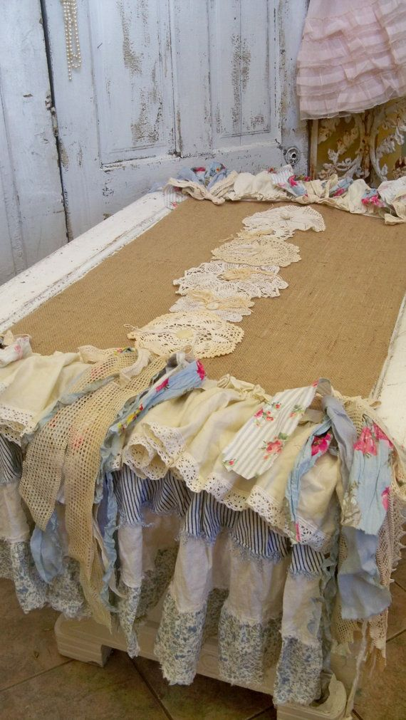 Burlap table runner petticoat country farmhouse linen handmade