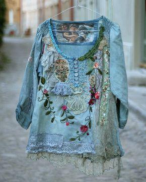 Flor Duo - romántica blusa bordada, collage textil, vestible arte, teñido, Detalles de la Mano de Cuentas, de la mano