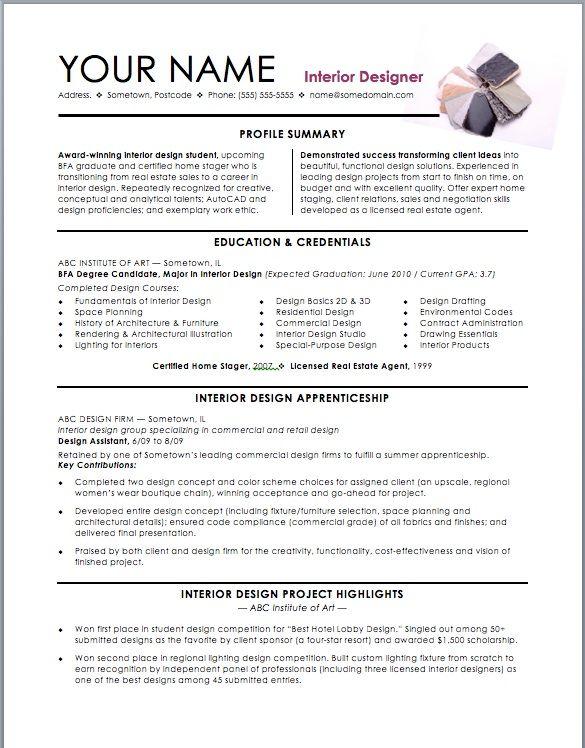 Interior Design Resume Template Interior Design Resume Resume Design Interior Design Cv