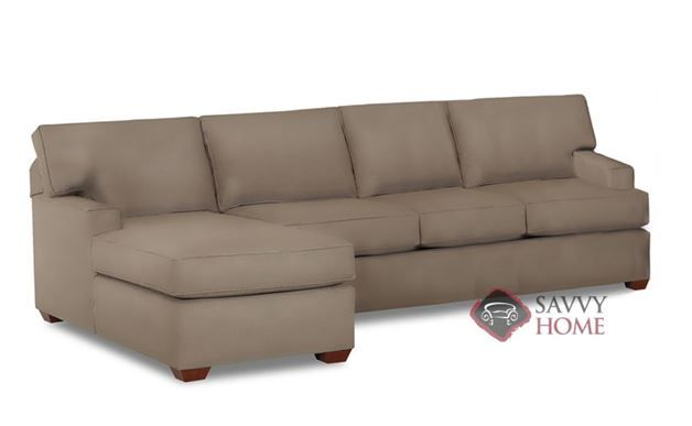 Palo Alto Leather Chaise Sectional Sleeper Sofa by Savvy. A ...